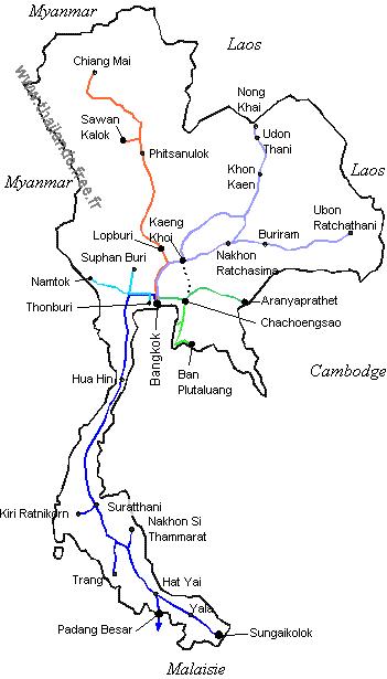Carte Thailande Format A4.Trains De Thailande